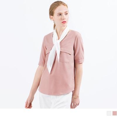 【精選系列♥任選7折】V領反摺袖口袋設計雪紡上衣/附領巾‧2色