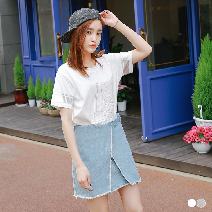 0511新品 蕾絲字母繡花銀條邊短袖寬鬆ob嚴選 評價上衣.2色