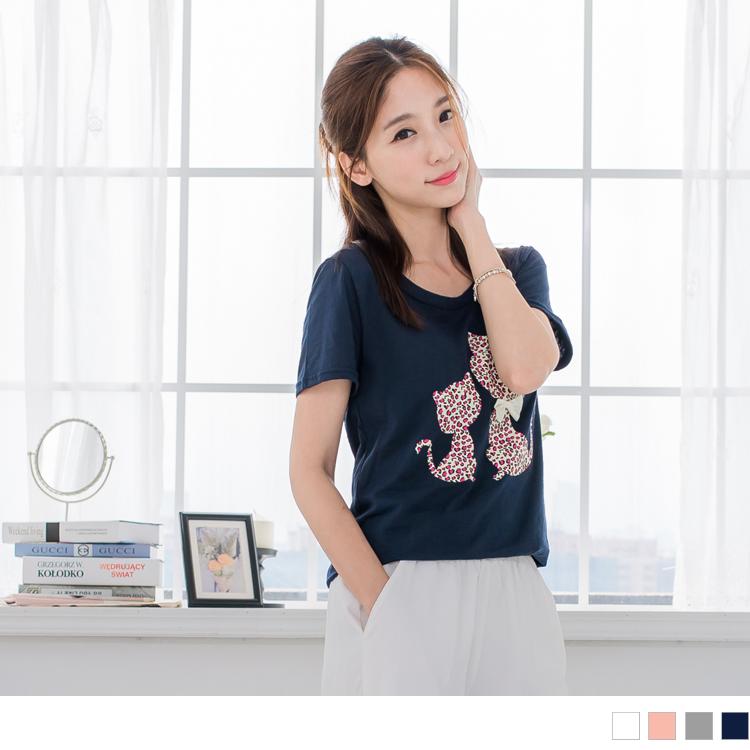 0506新品 豹紋貓咪造型X蝴蝶結純色ob嚴選模特兒T恤.4色