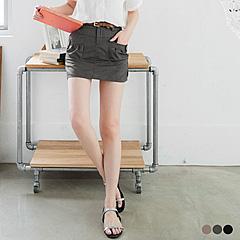 0411新品 釦飾打摺口袋安全褲內裡褲裙‧3色