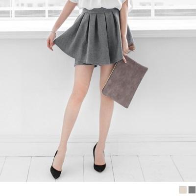 0602新品 混色質感微澎打褶褲裙.2色