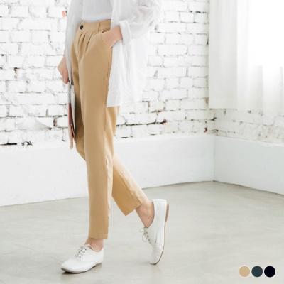 0617新品 附皮帶素色打褶九分鬆緊直筒褲.3色