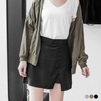 0426新品 質感側拉鍊下襬開衩短褲裙.3色