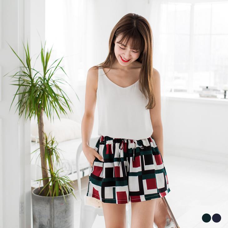 0429新品 拼色幾何圖樣腰圍鬆緊短褲裙ob嚴選 ptt.2色