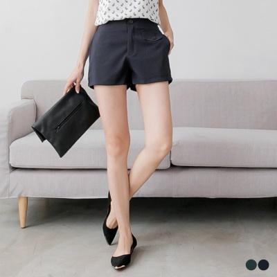 0512新品 簡約單色假口袋設計短褲.2色