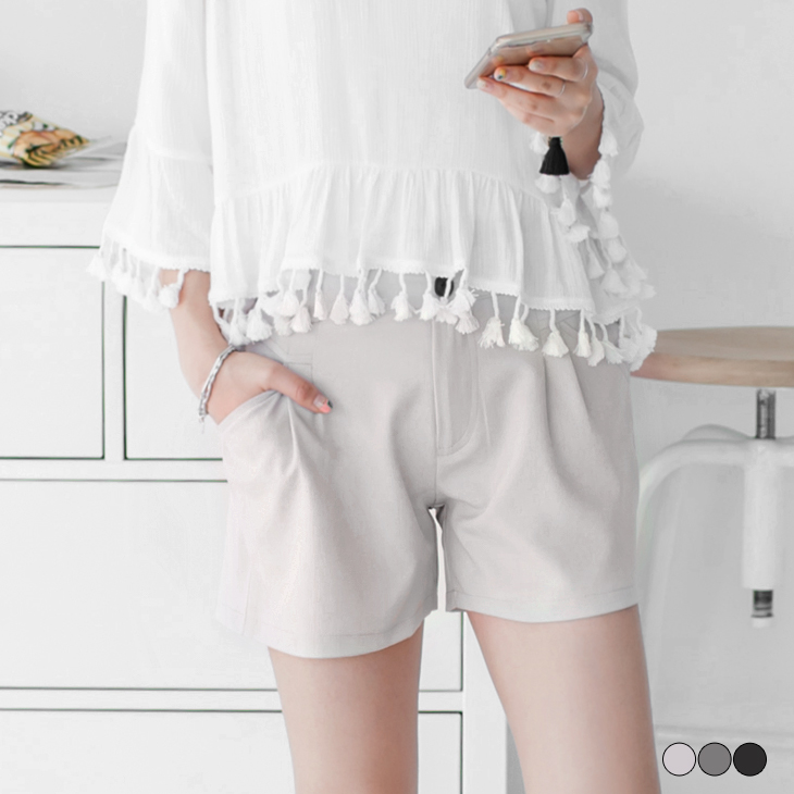 0426新品 半鬆緊腰頭素色打摺西裝短ob 羽絨褲.3色