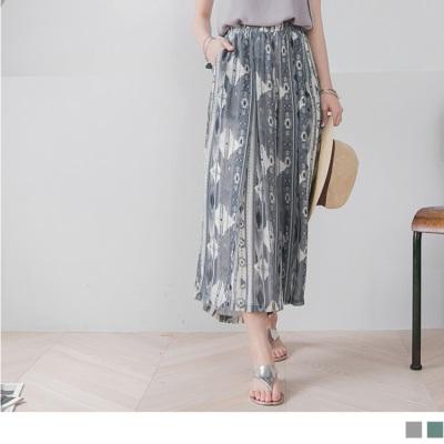 0427新品 波希米亞風圖騰雪紡腰鬆緊寬版長褲.2色