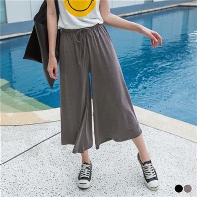 0427新品 素色彈性休閒腰鬆緊綁帶寬版八分褲.2色