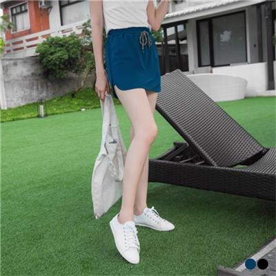 0428新品 質感純色面料X抽繩休閒褲裙.2色
