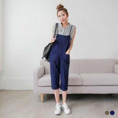 0427新品 素色棉感細肩吊帶口袋八分連身褲.2色