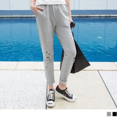 0428新品 素色刷破造型腰鬆緊休閒哈倫褲.2色