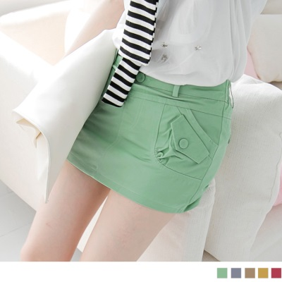 0418新品 個性典範~兩側斜口袋造型安全褲內裡短裙‧5色