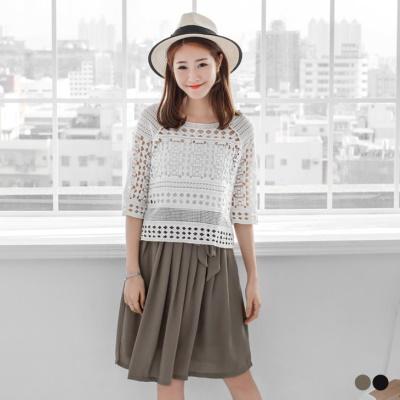 0620新品 素色雪紡腰鬆緊綁帶百褶中裙.2色