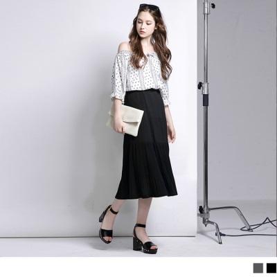【精選系列♥任選7折】舒適層次設計細摺長裙.2色