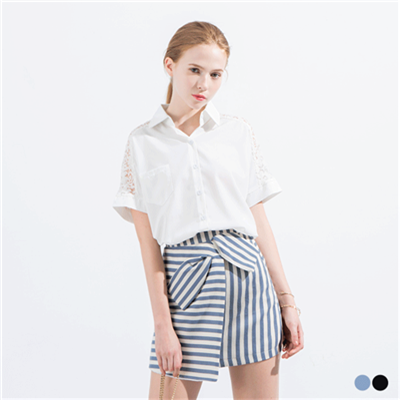 0523新品 立體蝴蝶結不對稱剪裁短裙.2色