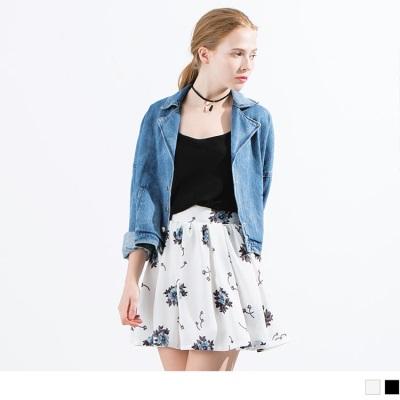 0523新品 花朵圖案傘擺雪紡短裙.2色