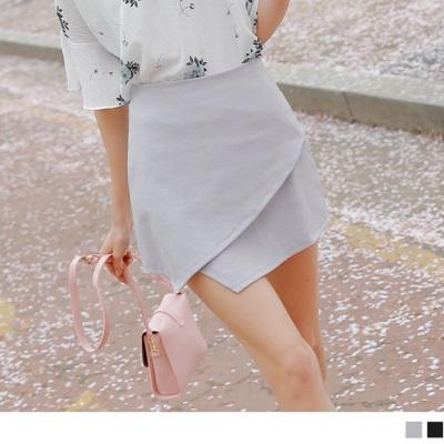 0524新品 素色不規則裙襬後拉鍊包裙.2色