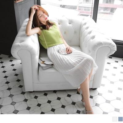 0520新品 純色質感壓紋面料過膝百褶裙.2色