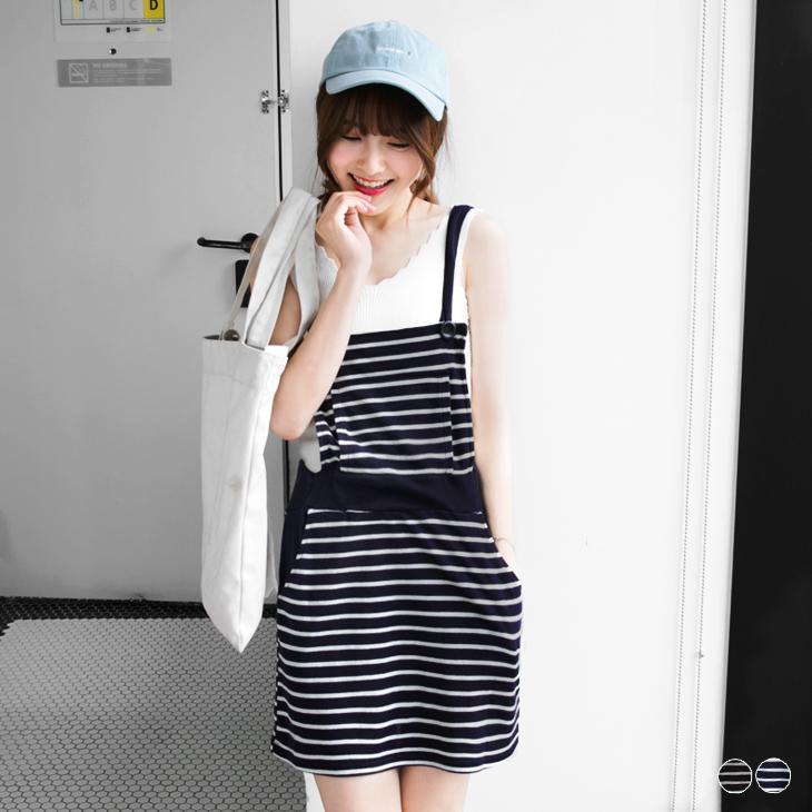 橫條紋腰鬆ob嚴選門市緊休閒彈性吊帶裙.2色