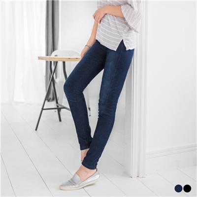 0622新品 3D立體雪花丹寧彈性腰圍窄管褲.2色