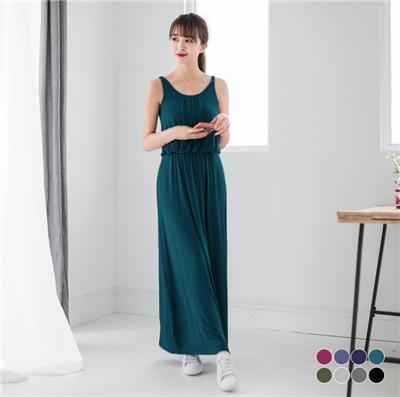 氣質百搭~素色垂墬感縮腰長版洋裝.8色