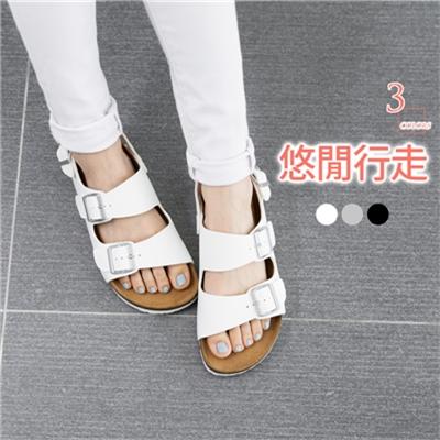 0427新品 舒適雙釦仿皮革休閒涼鞋.3色