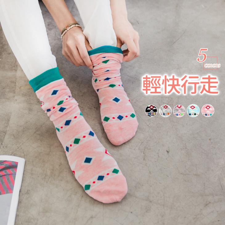0414新品 【特價款】 幾何圖騰繽紛ob品牌旗艦店短襪.5色