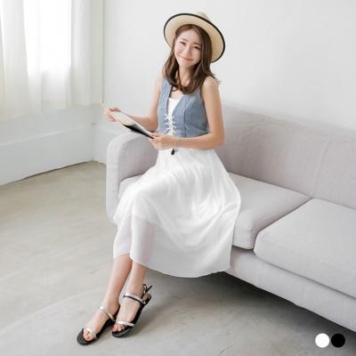 0627新品 個性女孩~牛仔短背心假兩件式雪紡長洋裝‧2色