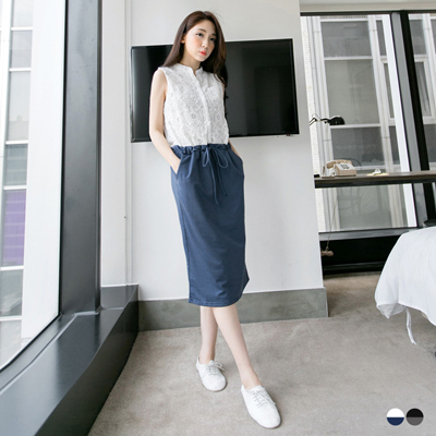 0621新品 中性優雅~蕾絲拼接棉質腰綁帶無袖長洋裝.2色