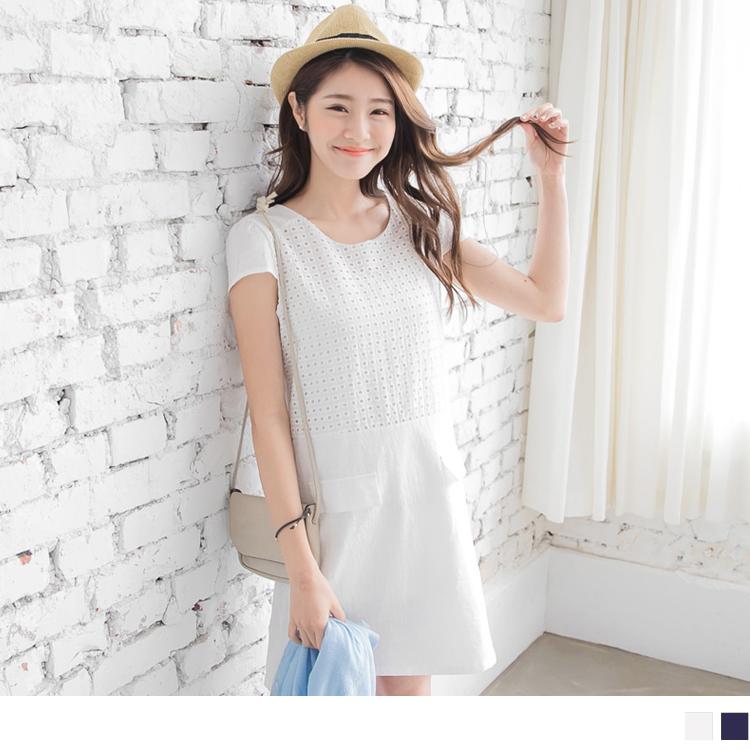 0406新品 優雅漫步~素色鏤空橢圓布蕾絲層次感洋裝.2色