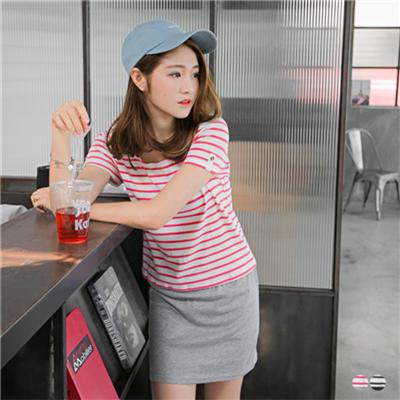 【百搭T恤♥任選59折】百搭風格~條紋拼接素色層次感釦飾長版上衣.2色