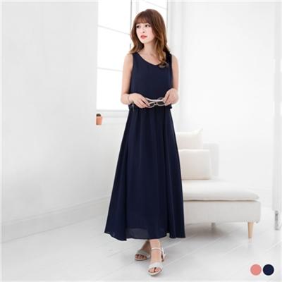 0607新品 純色雪紡腰鬆緊設計無袖長洋裝.2色