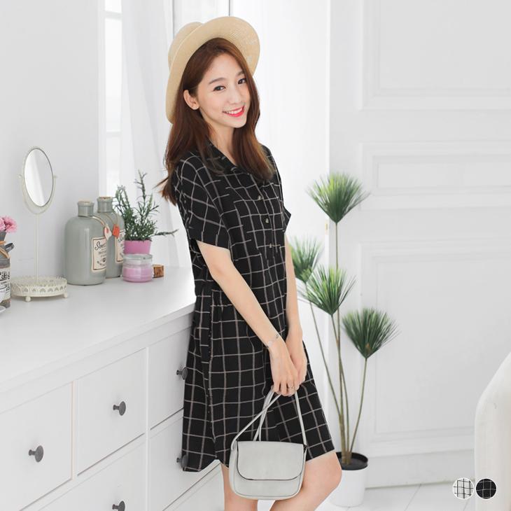 0425新品 格紋半開襟腰鬆緊寬鬆ob研選襯衫洋裝.2色