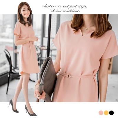 0412新品 附綁帶質感純色連袖洋裝.3色