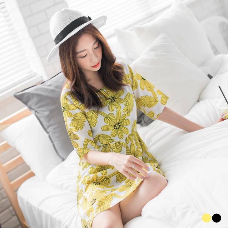 0426新品 花朵圖樣五分袖圓領高腰洋裝.2色