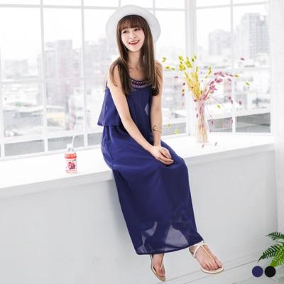 0426新品 民族風珠珠繡花雪紡細肩帶長洋裝.2色