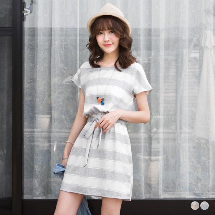 0422新品 寬橫條紋配色腰鬆緊綁帶圓領洋裝.2色