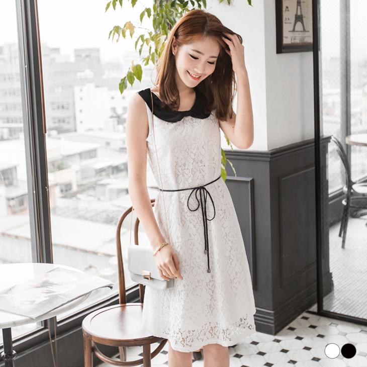 0414新品 黑白蕾絲拼公主領設計洋裝.2色