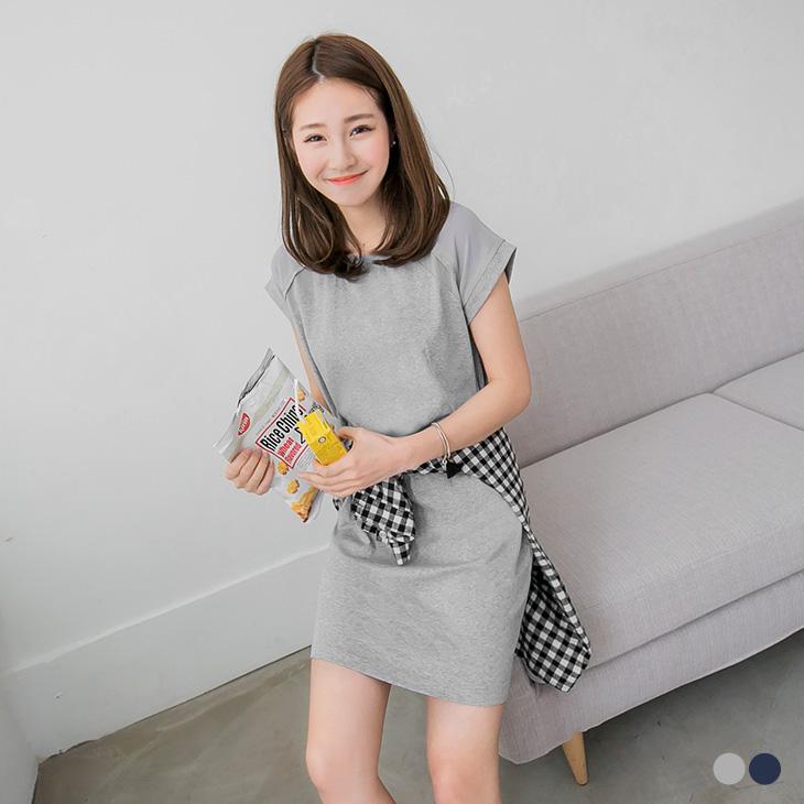 0425新品 素面質感拼接剪裁修身洋裝.2色