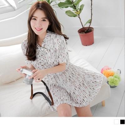 0617新品 箭矢印花雪紡綁帶腰鬆緊百褶洋裝.2色