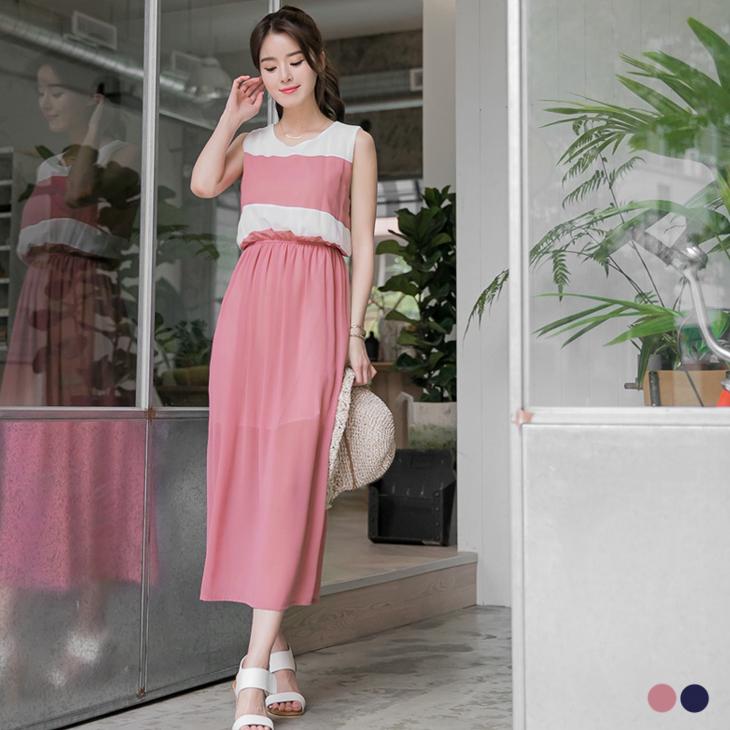 0608新品 條紋拼純色ob嚴選實體店面雪紡無袖長洋裝.2色