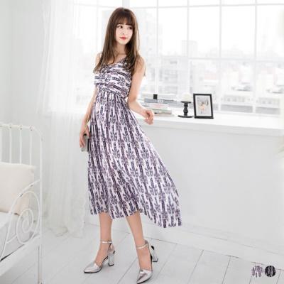0428新品 圖騰印花V領縮腰長洋裝.2色