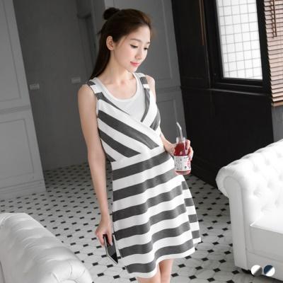 0428新品 親子裝系列~交叉V領無袖洋裝‧女2色