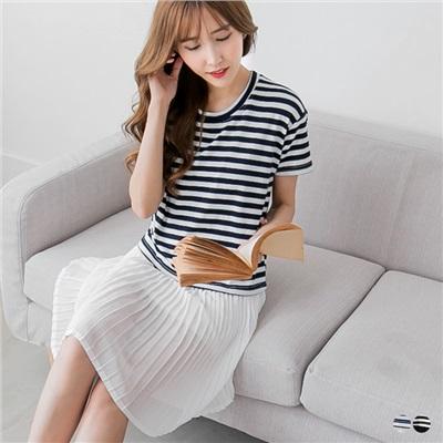 0427新品 假兩件彈性條紋x雪紡百褶裙短袖洋裝.2色
