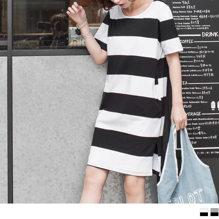 0531新品 基本款條紋X側ob嚴選超級商城開衩設計洋裝.2色