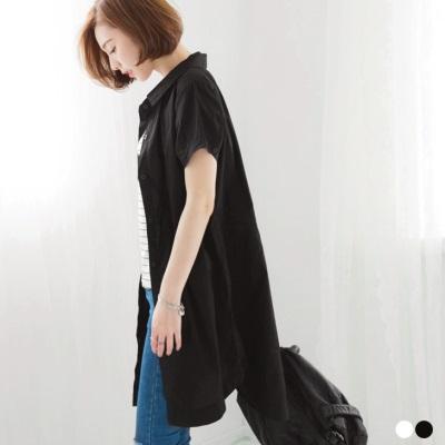 0505新品 素色棉感長版寬鬆襯衫上衣/外套/洋裝.2色