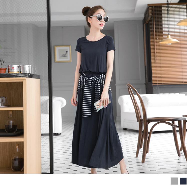 0428ob嚴選評價新品 假兩件條紋綁腰x素色柔軟彈性長洋裝.2色