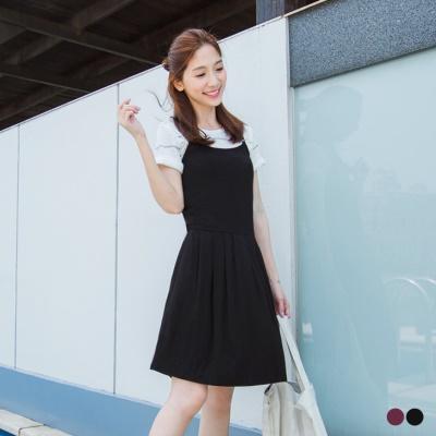 0527新品 純色質感面料細肩帶設計洋裝.2色