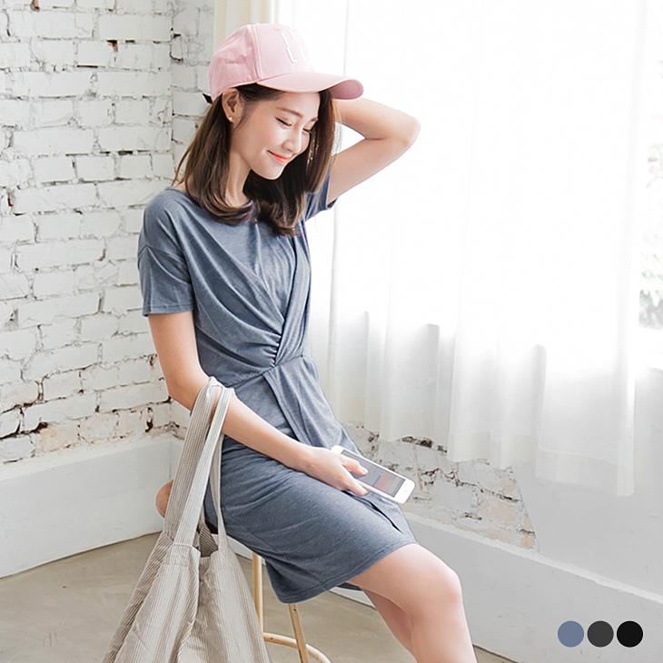 0427新品 混色交叉垂墜造型圓領短袖洋裝.3色