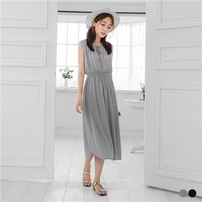 0503新品 素面綁帶領口設計無袖長洋裝.2色